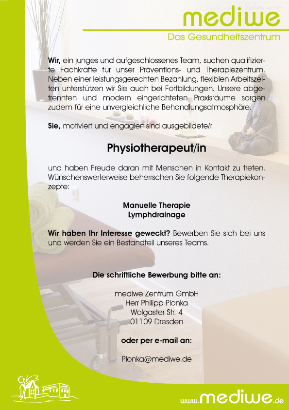 karriere jobs stellenangebote physiotherapeut mediwe dresden klotzsche. Black Bedroom Furniture Sets. Home Design Ideas